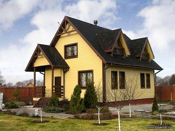 В какой цвет покрасить дом с коричневой крышей
